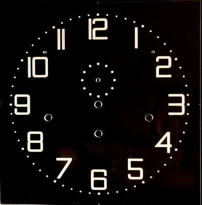 Dial 101: Oakside Special Clear Perspex Square dial with etched numerals 300mm x 300mm
