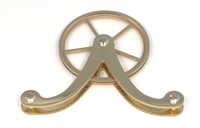 Pulleys 003: Twin Weight Yoke polished Brass Cable Pulley. (RWS)